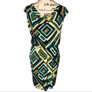 Eliza J Geometric Sheath Dress Draped